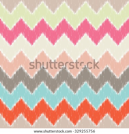 Seamless pattern design with traditional ikat repeating ornaments - stock photo