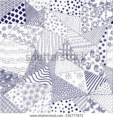 Seamless Pattern. Doodle Hand-drawn Background.