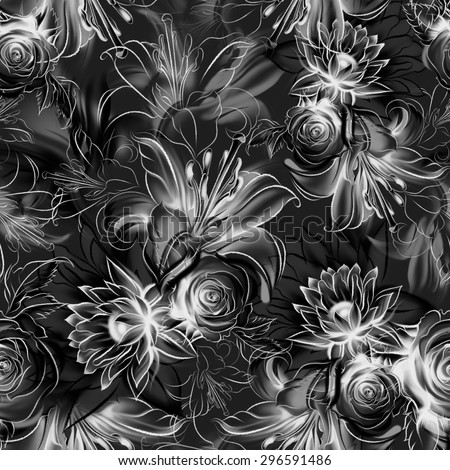 Seamless pattern. Flowers drawn in pencil and watercolor on old paper. Black and white roses, lilies and orchids. Vintage elegant style. The thin smooth lines. Freehand drawing - stock photo