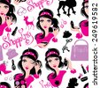 Seamless pattern for fashion Design, glamor lovely girls using different tools to apply make-up and accessories. Raster version - stock photo