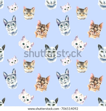 seamless pattern from watercolor cats watercolor animal painting kids blue background hand drawn