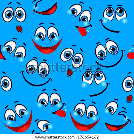 Seamless pattern - funny faces on a blue background. Raster version  - stock photo