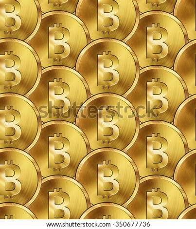 Seamless pattern, glossy gold coins with bitcoin sign.  - stock photo