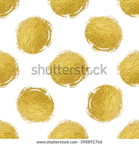 Seamless pattern gold circle on white background, pattern gold polka dot, grunge gold circle background, design for textile, wrapping, card, invitation, wallpaper, web, wedding, party, birthday - stock photo