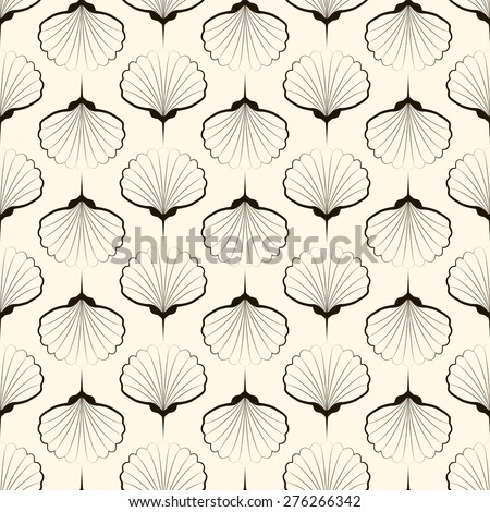 Seamless pattern, graphic ornament, sea stylish background. Repeating texture with stylized shells - stock photo