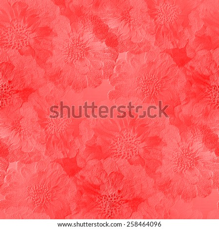 seamless pattern, gypsum board, red watercolor, stamped shapes of flowers texture