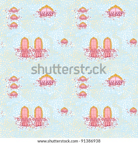 Seamless pattern: house stone wall, windows and balconies twined with pink flowers. - stock photo