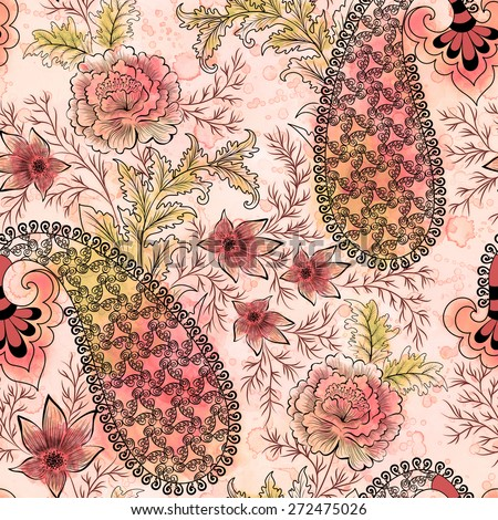 seamless pattern in pink and crimson shades with floral motifs and filigree black paisley on blurred  background with watercolor spots - stock photo