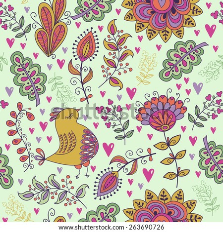 Seamless pattern in vintage style. Doodle flowers, birds, leaves and grass retro design. Can be used for wallpaper, pattern fills, web page background, surface textures
