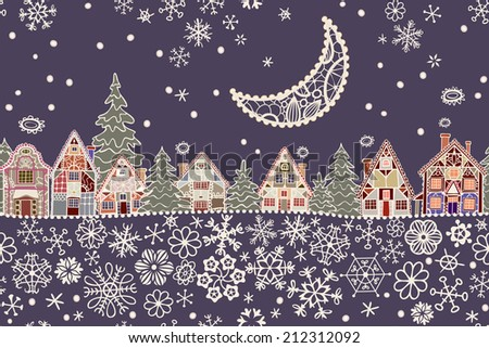 Seamless pattern. Lacy moon above night christmas city. Xmas, New year greeting card. Raster version of illustration. - stock photo