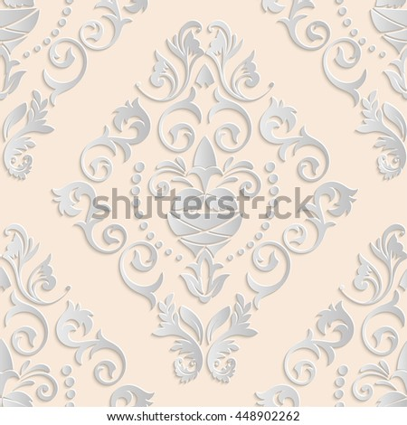 Seamless pattern. Luxury floral texture of Baroque or Damask style. Pattern with 3d elements. Can be used as a background, wallpaper or an element of decoration - stock photo