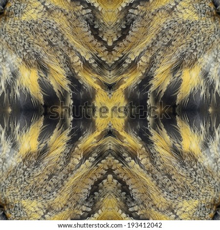 Seamless pattern made from Eurasian Eagle Owl feathers - stock photo