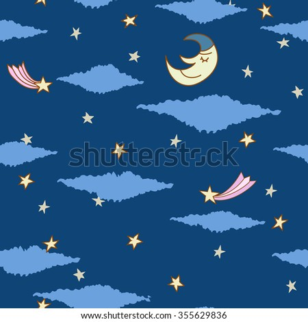 seamless pattern made from night sky with stars, clouds and sleeping moon