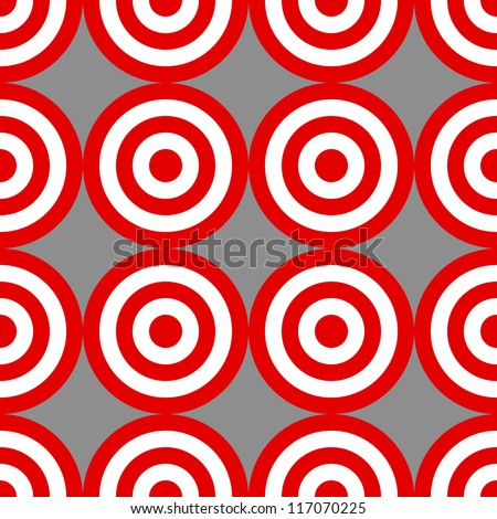 Seamless pattern made with circle red and white targets over grey; great endless wallpaper, background, fabric and the likes.