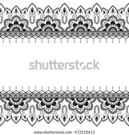Seamless pattern mehndi border elements in Indian style with flowers for tattoo or card. Illustration isolated on white background.