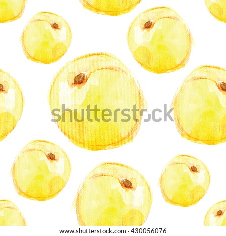 Seamless pattern of abricots on a white background.