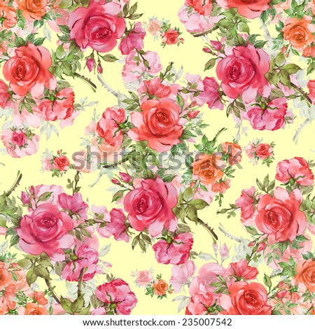 Seamless pattern of beautiful red roses-6