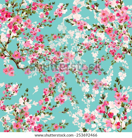 Seamless pattern  of blossoming branch - stock photo