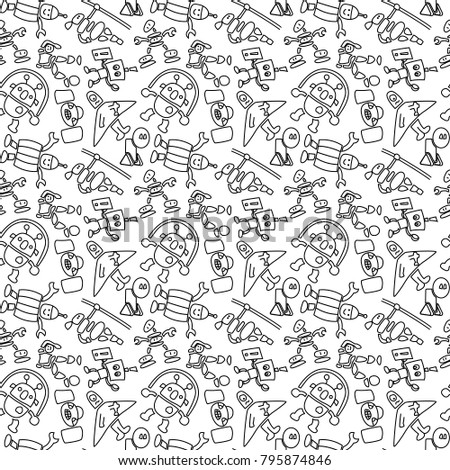Seamless pattern of cheerful robots. Texture on a white background