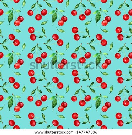 Seamless Pattern of cherry -1 - stock photo