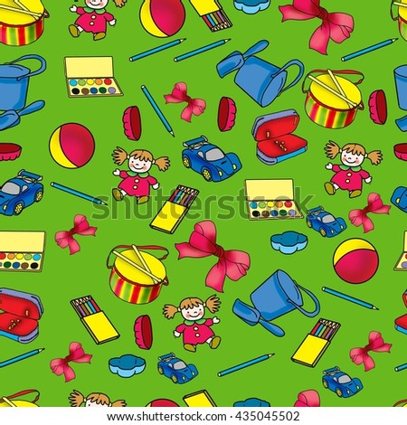 seamless pattern of children's toys