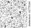 Seamless pattern of Christmas symbols. - stock photo