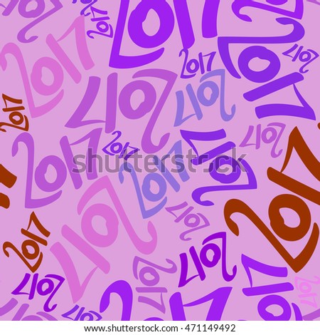 Seamless pattern of colored numbers 2017. New Year background.
