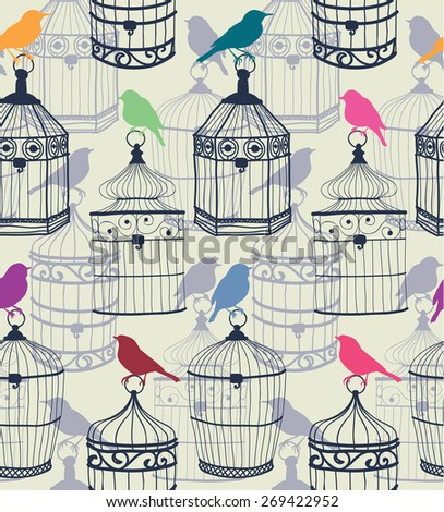 Seamless pattern of colored silhouettes of birds and beautiful figured birdcage Illustration  - stock photo
