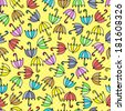 Seamless pattern of colorful umbrellas. Yellow polka dots background. Children's background.  - stock vector