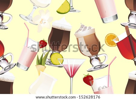 Seamless Pattern of different alcoholic cocktails - stock photo