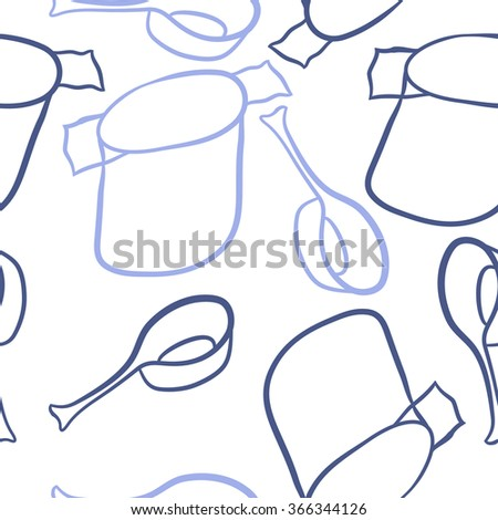 Seamless pattern of dishes,objects, doodles,saucepan, pan. Hand drawn.