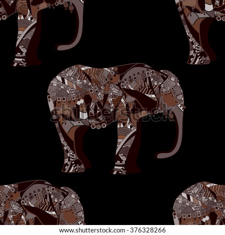 seamless pattern of east elephant - stock photo