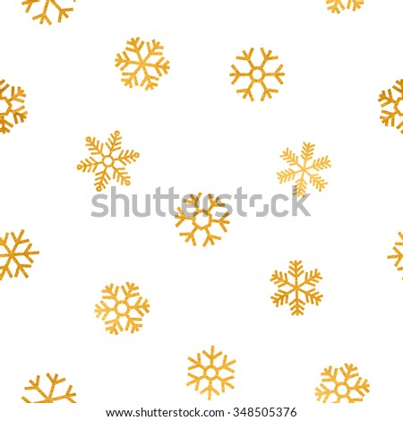 Seamless pattern of falling golden snowflakes on white background. Elegant pattern for Christmas or New year background, festive banner, card, invitation, postcard. Raster copy of vector file. - stock photo