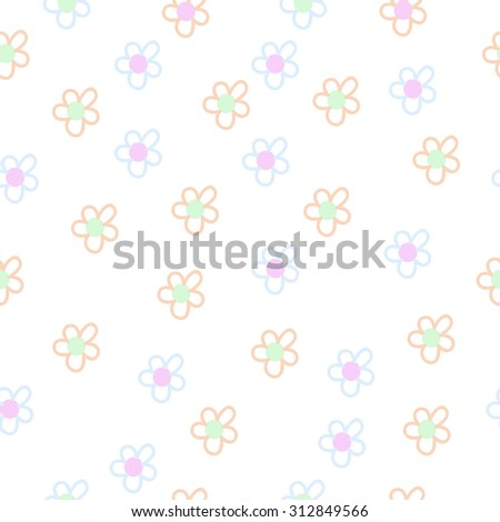 Seamless   pattern of floral motif, ellipses,flowers, doodles. Hand drawn.