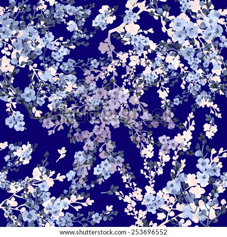 Seamless pattern of flowering branches - stock photo