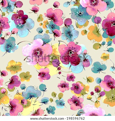Seamless pattern of flowers - stock photo