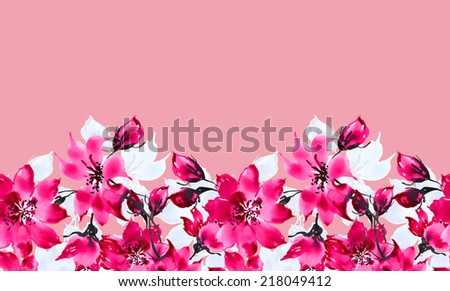 Seamless pattern of flowers border-9 - stock photo
