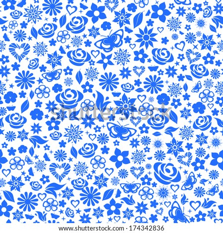 Seamless pattern of flowers, leafs, stars, butterflies and hearts. Blue on white. Raster version. - stock photo