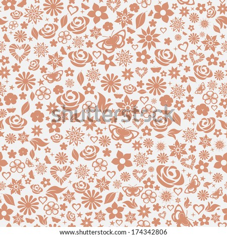 Seamless pattern of flowers, leafs, stars, butterflies and hearts. Brown on gray. Raster version. - stock photo