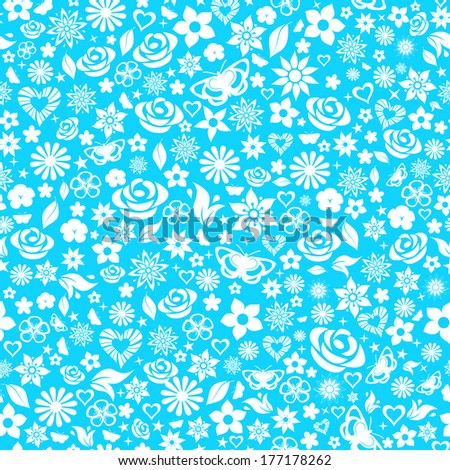 Seamless pattern of flowers, leafs, stars, butterflies and hearts. White on light blue. Raster version. - stock photo