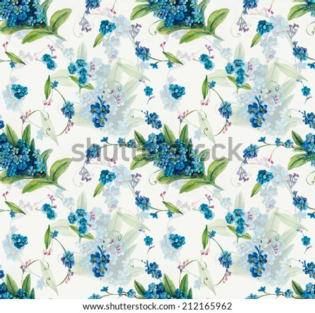 Seamless pattern of forget-me-not. Flowers background, watercolor composition. Decoration with blooming blue flowers, hand-drawing. Illustration. White background - stock photo