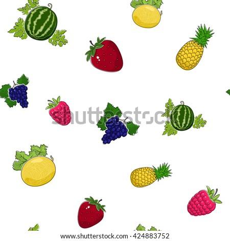 Seamless Pattern of Fresh Sweet Ripe Fruits and Berries, Fruit Pattern,  Tropic Pattern - stock photo
