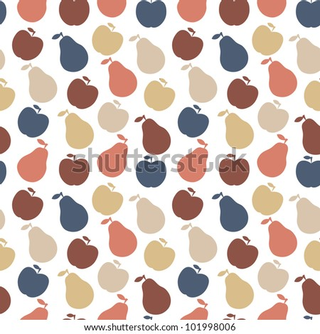 seamless pattern of fruit - apple and pear - stock photo