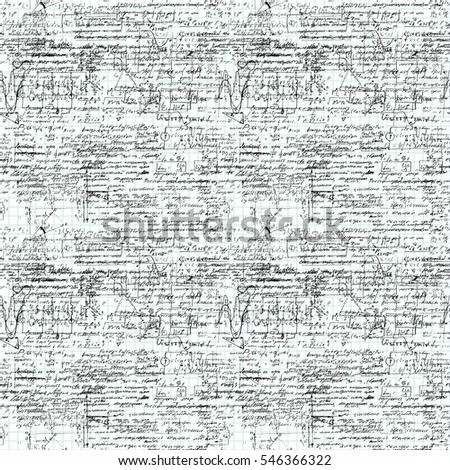 Seamless pattern of geometry, math, physics, electronic engineering subjects on copybook grid paper. Mathematics equation and calculations, endless hand writing. White Background.