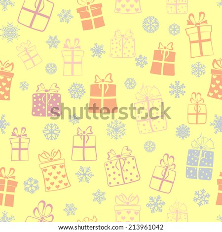 Seamless pattern of gift boxes and snowflakes, multicolored on yellow - stock photo
