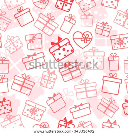 Seamless pattern of gift boxes, red on white