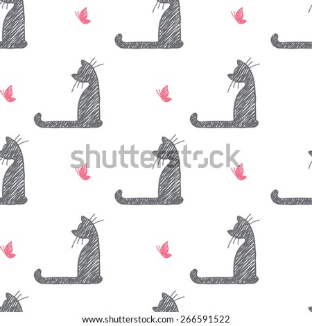 seamless pattern of hand drawn cats and butterflies - stock photo