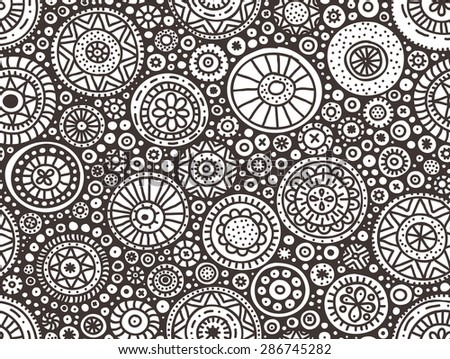 Seamless pattern of hand drawn doodle circles - stock photo
