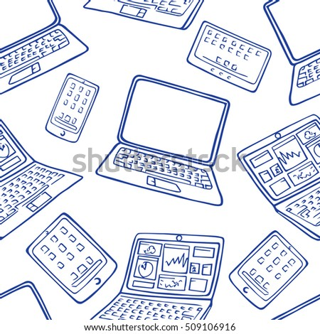 seamless pattern of hand drawn doodles of electronic gadgets. Laptop, PC, Phone, Tablet