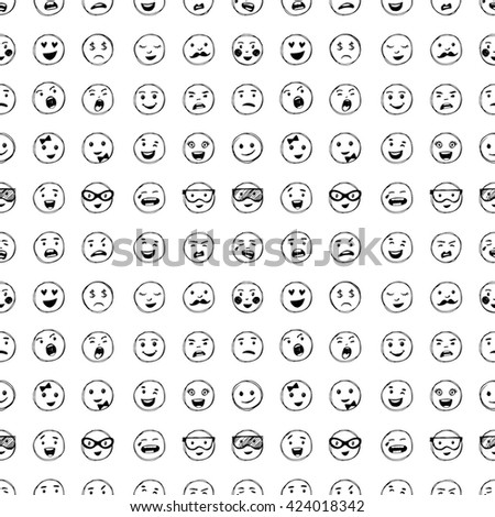 Seamless pattern of hand drawn lines smiles. Elements for emotion, internet web icons. - stock photo